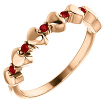 Load image into Gallery viewer, Genuine Ruby Stackable Heart Ring in 14k Rose Gold