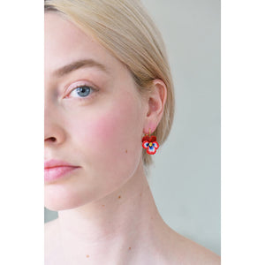 RED PANSY AND FACETED CRYSTAL STUD EARRINGS by Parker Edmond - ParkerEdmond