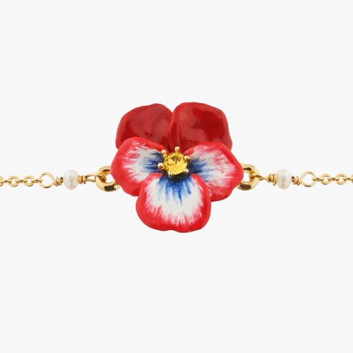 RED PANSY AND FACETED CRYSTAL THIN LINK CHAIN BRACELET by Parker Edmond - ParkerEdmond