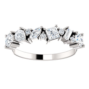 Individual Unique Cut Diamonds 7/8 CTW Set in this 14k White Gold Band