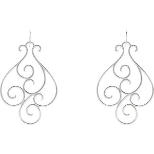 Designed with Character 14K White Gold or Sterling Silver Scroll Earrings by Parker Edmond - ParkerEdmond