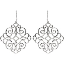 Load image into Gallery viewer, Orleans Sterling Silver Diamond Filigree Scroll Earrings by Parker Edmond - ParkerEdmond
