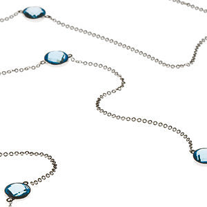 Finest Topaz Stones set in 14K White Checkerboard Swiss Blue Topaz Station 40