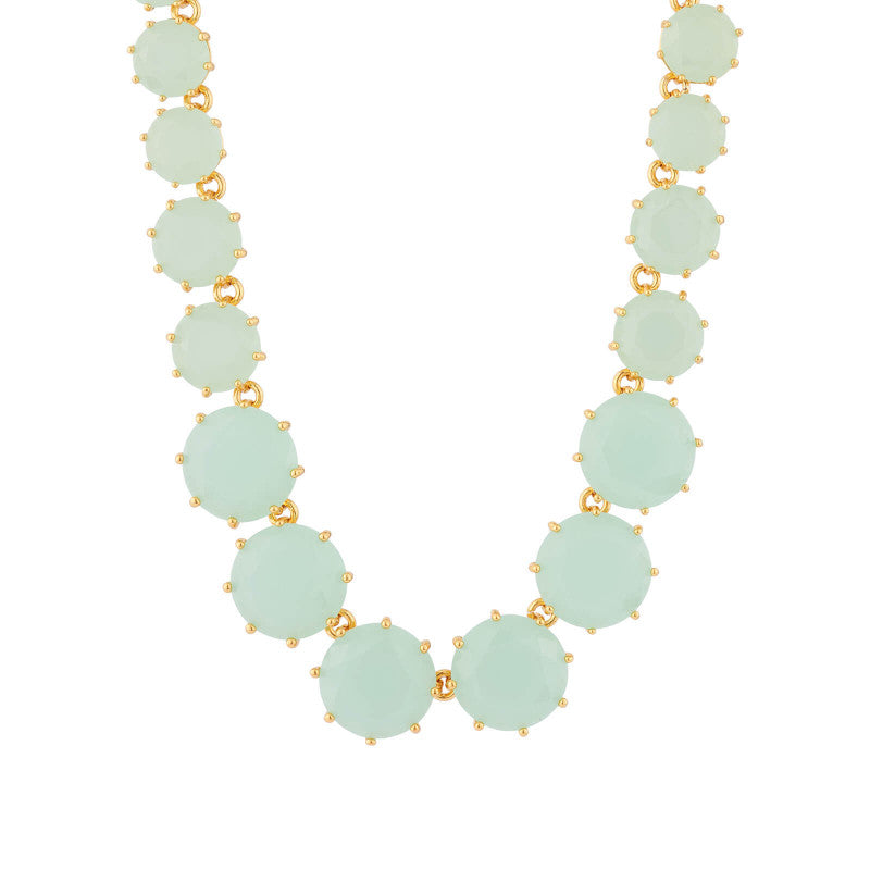 Les Néréides - LONG NECKLACE WITH ROUND STONES AND PALE GREEN CHAIN by Parker Edmond - ParkerEdmond