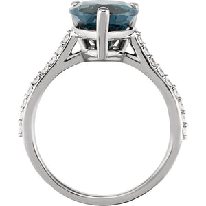 Deep London Blue Topaz & 1/4 CTW Diamond Ring by Parker Edmond - ParkerEdmond