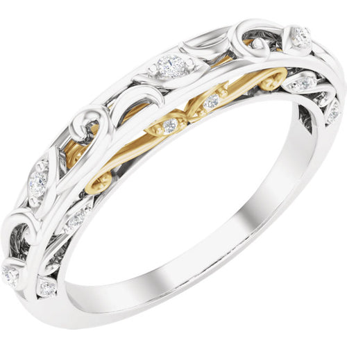 Diamond Wedding Band with Unique Scroll Design and Gold Combinations by Parker Edmond - ParkerEdmond