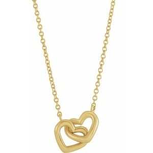 "14K Gold | Silver | Platinum Interlocking Heart 16"" Necklace"