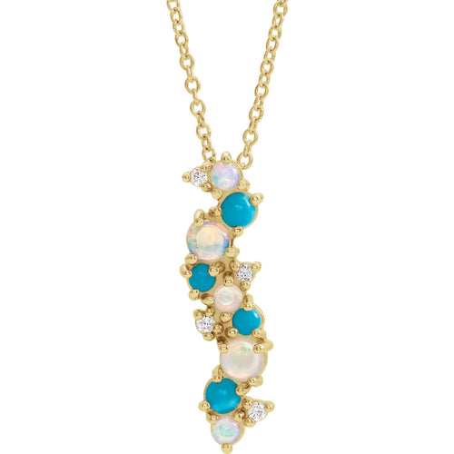 Exotic Ethiopian Opal Turquoise & .03 CTW Diamond Necklace by Parker Edmon Jewelry - ParkerEdmond