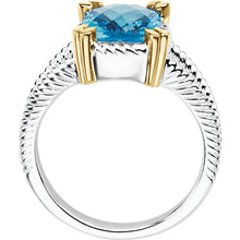Load image into Gallery viewer, Timeless Sterling Silver Swiss Blue Topaz Stone held by 14k Gold Prongs by Parker Edmond - ParkerEdmond