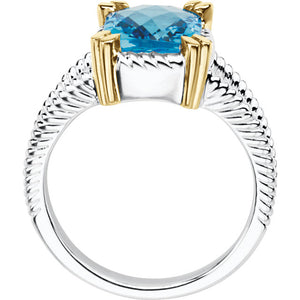 Timeless Sterling Silver Swiss Blue Topaz Stone held by 14k Gold Prongs by Parker Edmond - ParkerEdmond