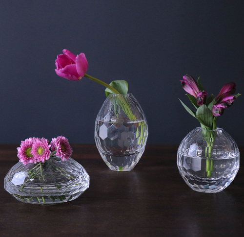 GLASS faceted clear bud vase set - MEDIUM