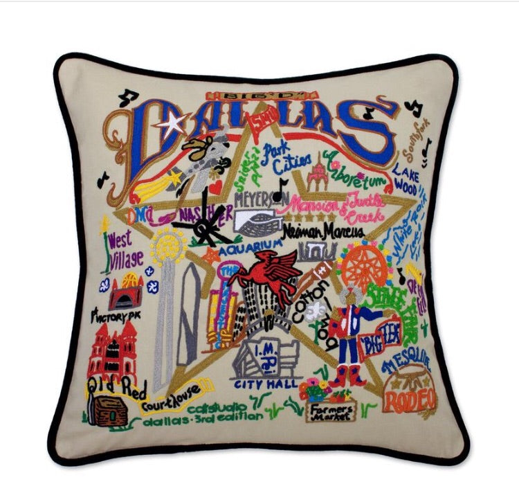 Catstudio Dallas Hand Embroidered Pillow