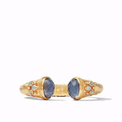 Julie Vos | Cassis Cuff Gold Iridescent Slate Blue with Pearl Accents