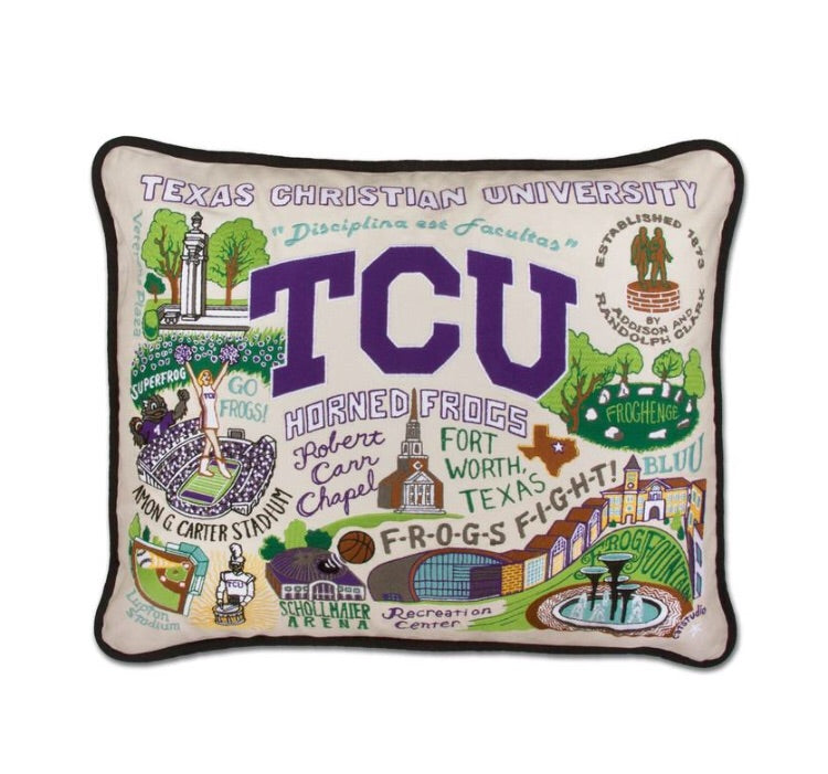 Catstudio TCU Hand Embroidered Pillow