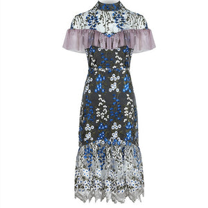 Flower Patchwork Embroidery  Ruffles Slim Women Dress
