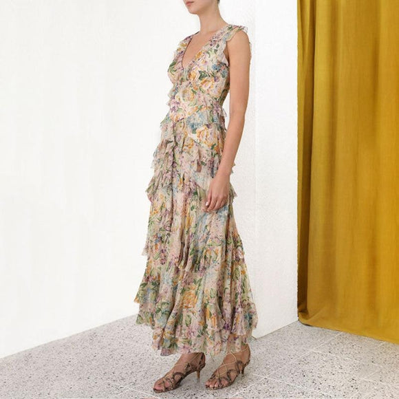 Sleeveless Tulip Print Cascading Ruffle Elegant Long Dress