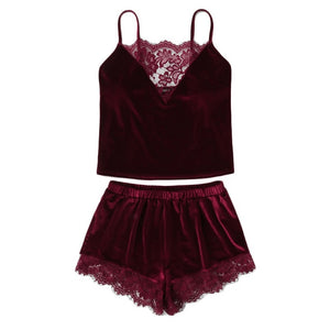 Lace Trim Velvet Cami Shorts Pajamas Set