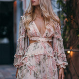 Backless Long Sleeve Floral Print Mini Dress