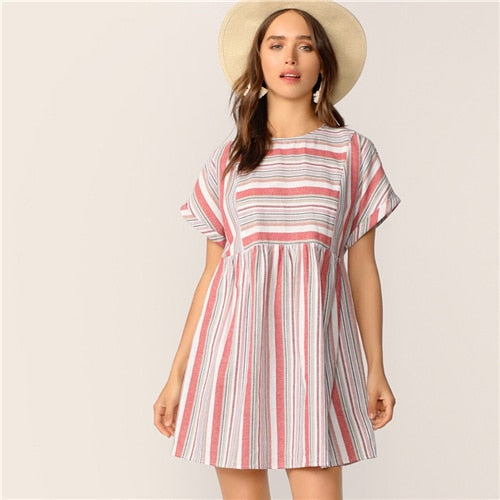 Keyhole Back Roll Tab Sleeve Colorblock Striped Dress