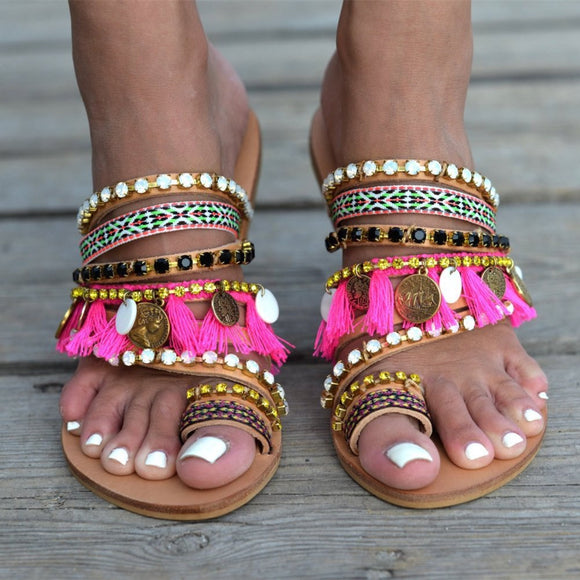 Boho Style Handmade Sandals With Tassel Fringe