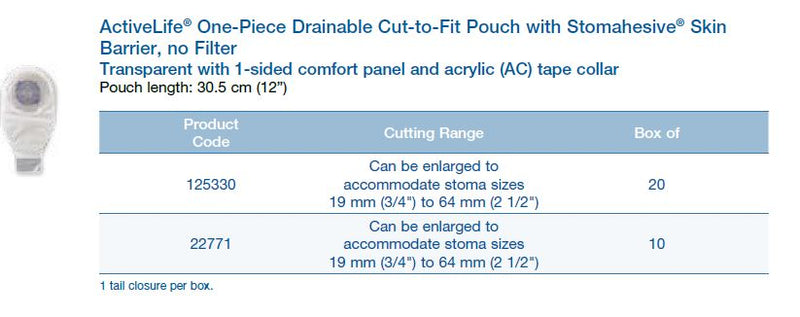 "ActiveLife®: One-Piece Drainable Cut-to-Fit Pouch with Stomahesive® Flat Skin Barrier, Without Filter, Regular Wear, 12"" (4573968564337)"