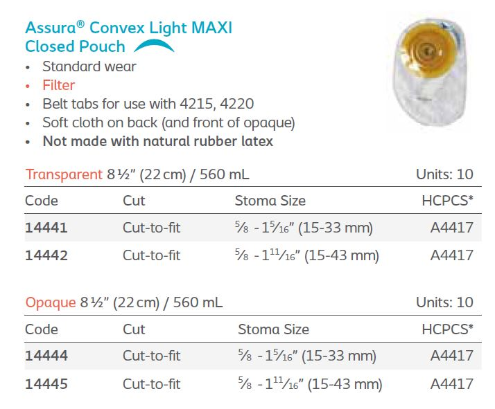 Assura®: Convex Light 1-Piece MAXI Closed Pouch, Filter, Standard Wear, 10/bx (4568703369329)
