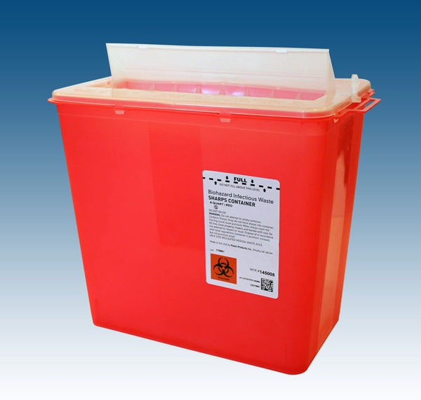 Sharps Container, Red, 8 qt, Horizontal Entry