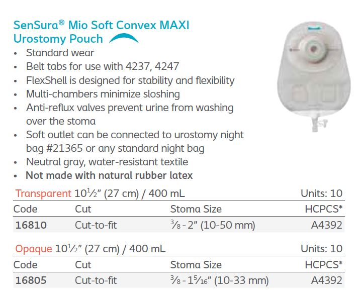 SenSura® Mio: Soft Convex 1-Piece MAXI Urostomy Pouch, Standard Wear, 10/bx (4565433876593)