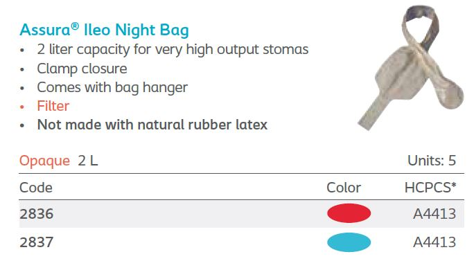 Assura®: High Output Drainable System, Ileo Night Bag, Filter, Clamp Closure 5/bx (4561944019057)
