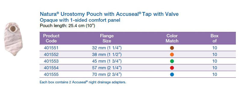 "Natura®: Urostomy Pouch with Accuseal® Tap with Valve, Opaque, 10"", 10/bx (4573256286321)"
