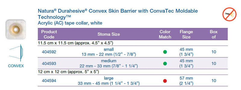 Natura® Durahesive®: Convex Skin Barrier with ConvaTec Moldable Technology™, Acrylic tape collar, white, Extended Wear, 10/bx (4572226617457)