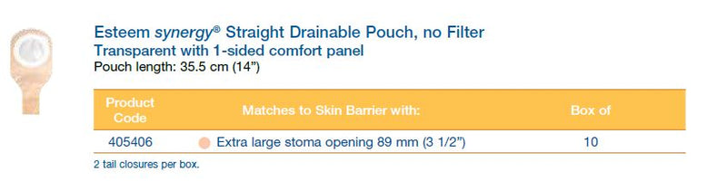 "Esteem synergy®: Straight Drainable Pouch, Without Filter, Transparent, 14"", 10/bx (4573278666865)"