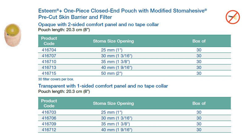 "Esteem®+: One-Piece Closed-End Pouch with Modified Stomahesive® Pre-Cut Flat Skin Barrier and Filter, Standard Wear, 8"", 30/bx (4573349412977)"
