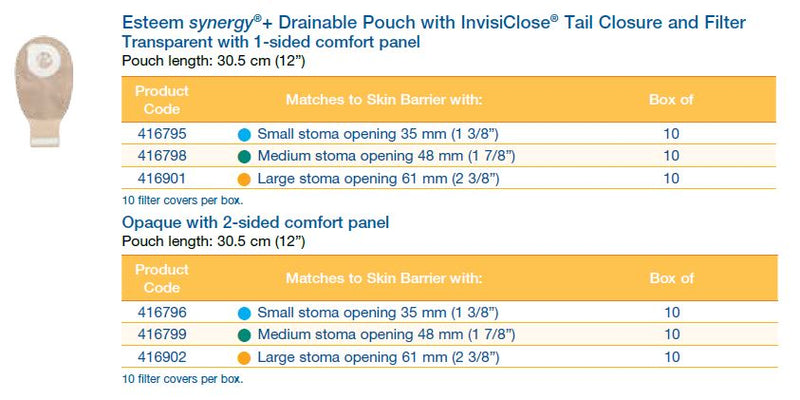 "Esteem synergy®+: Drainable Pouch with InvisiClose® Tail Closure and Filter, 12"", 10/bx (4573277519985)"