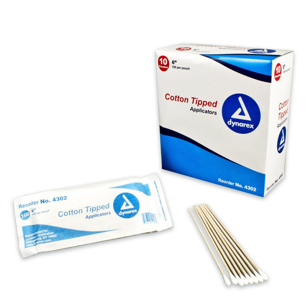 "Cotton-Tipped Wood Applicator, Non-Sterile, 6"" long. 1000/box (4399200534641)"