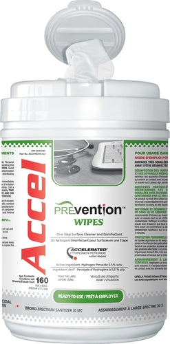 "Accel PREVention Wipes 6"" x 7"" wipes, tub of 160 wipes"