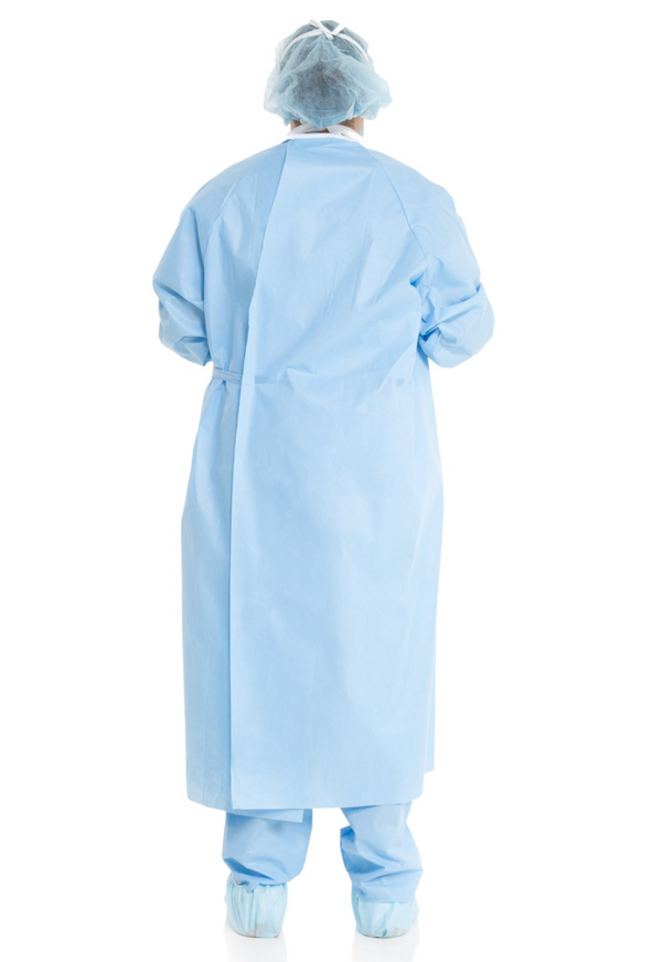 LOW STOCK - HALYARD BASICS* Non-Reinforced Surgical Gown, Adjustable Hook & Loop Neckline, Sterile, Size Large, Level 1, 20/cs (4447573377137)