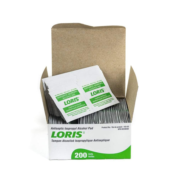 LORIS Alcohol Prep Pads:  3 x 6.5cm, 70% Alcohol - 200/box (4447586353265)