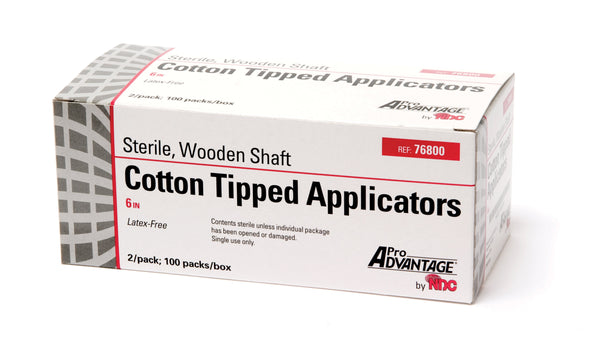 Cotton-Tipped Applicator, Sterile, Wooden Shaft, 2/pkg, 100pkg/bx