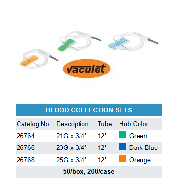 "Blood Collection Set, 12"" tubing, 50/bx"