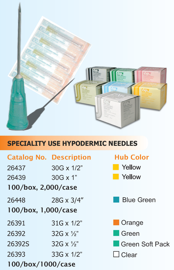 Specialty Use Hypodermic Needle (includes Regular Bevel), 100/bx.