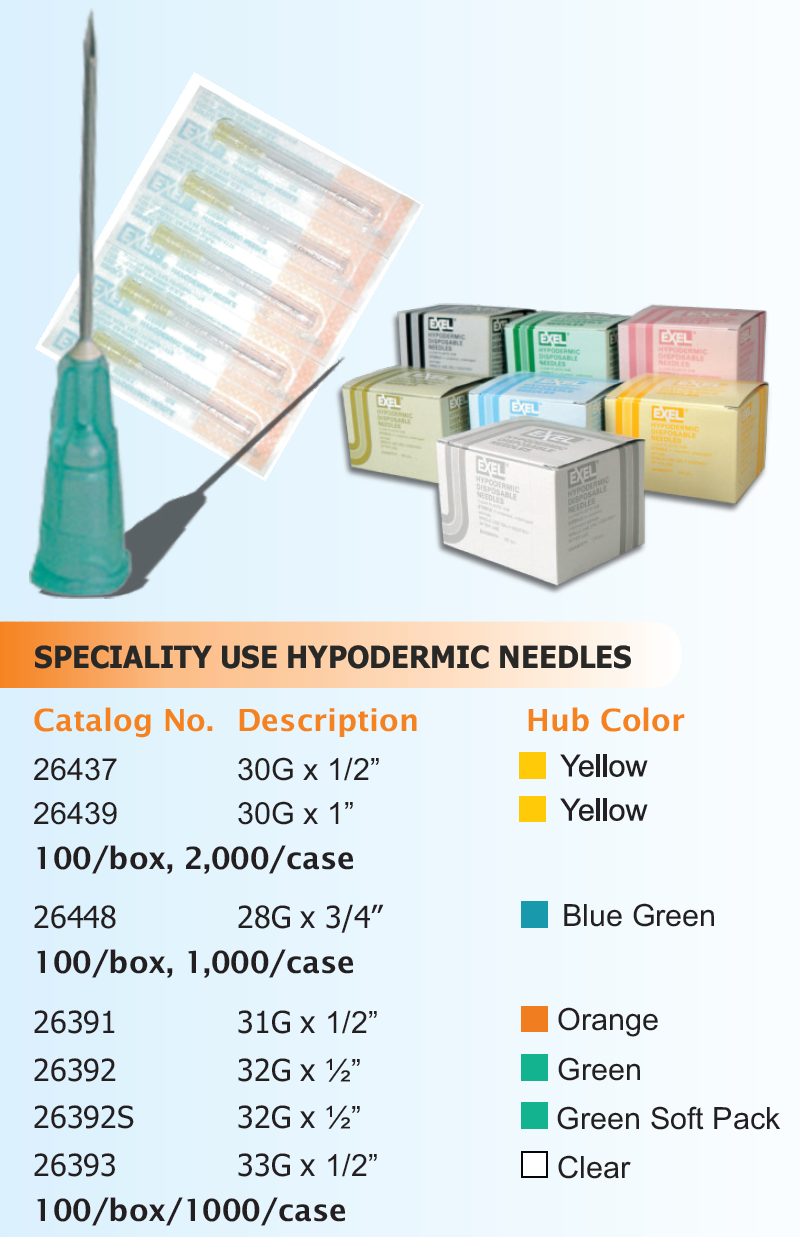 Specialty Use Hypodermic Needle (includes Regular Bevel), 100/bx. (4422883999857)