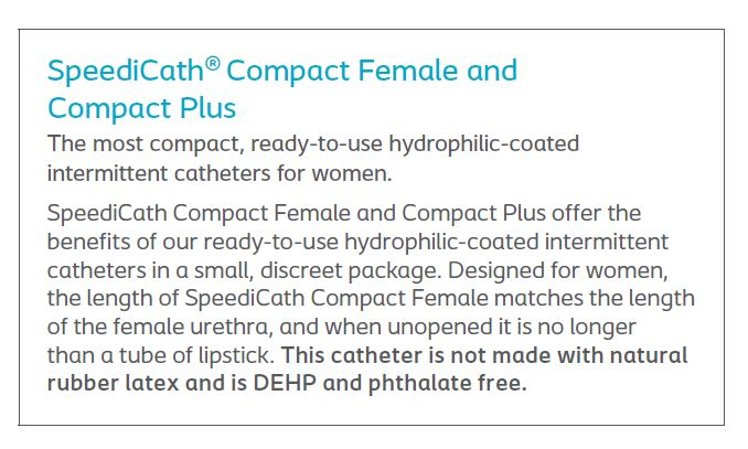 SpeediCath® Compact: Hydrophilic-Coated Intermittent Catheter, Female Straight Tip, 30/bx (4569287852145)