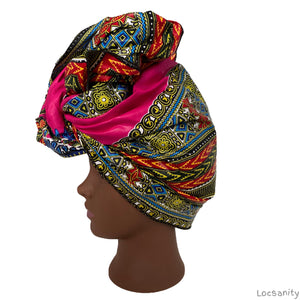 Locsanity African Print Wax Head Tie Dreadlocks and Natural Hair Various Colors