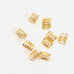 5Pcs Gold/Silver Adjustable Hair Dread Braids Dreadlock Cuffs Clips - Locsanity