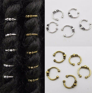 5 Piece Golden Adjustable Hair Braids Dread Dreadlock Cuffs Rings Dreadlock Rings Adjustable Medium and Large Dreadlocks - Locsanity