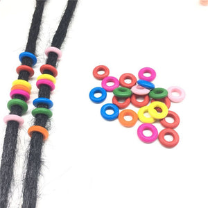 25 Piece Wooden Dreadlock Bead 7mm Medium Large Dreadlocks Mix Colors Rings - Locsanity