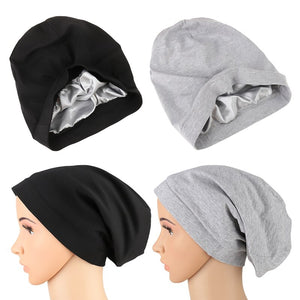 Locsanity Satin Lined Beanie Hat Dreadlocks and Natural Hair Back and Grey - Locsanity
