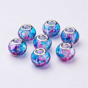 5 Piece Spray Blue Painted Glass European Beads Rondelle Medium-Large Dreadlocks Threader Included - Locsanity