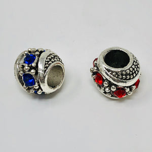 25 Piece Rondelle Alloy Rhinestone European Beads Antique Silver, Mixed Color Dreadlock Beads Free Threader Included - Locsanity